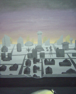 Gray City in Violet Twilight