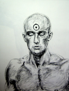 Tyler as Dr. Manhattan